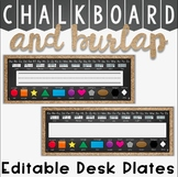Desk Plates in a Chalkboard and Burlap Classroom Decor Theme