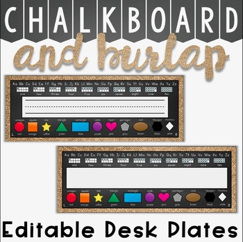 Desk Plates in a Chalkboard and Burlap Classroom Decor Theme