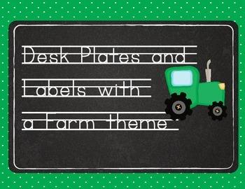 Desk Plates with Chalkboard and Farm Theme (bonus labels)