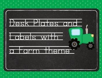 Desk Plates with Chalkboard and Farm Theme (bonus labels)