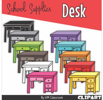 Desk in Rainbow Colors - Clip Art