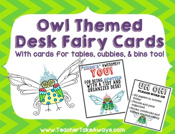 Desk, Table, Cubby, Bin Fairy Owl Themed Cards