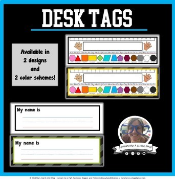 Desk Tags --  2 Designs + Blank Template