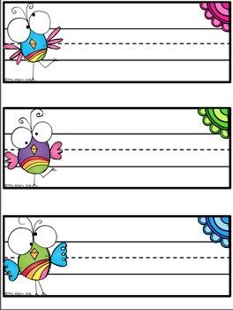 Desk Tags {Editable} Bird Theme