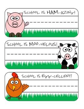 Desk Tags - Farm Animal Theme