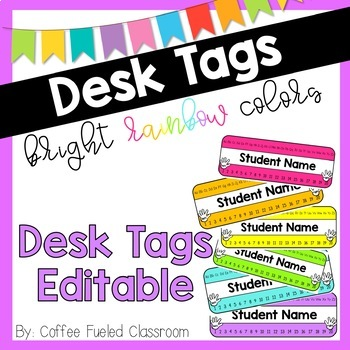 Desk Tags, Nameplates - Rainbow Colors - Editable