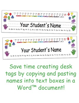 Desk Tags - Primary - Comic Sans, D'Nealian, and Century Gothic