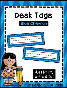 Desk Tags - Printable Name Tags - Blue Chevron