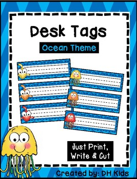 Desk Tags - Printable Name Tags - Blue Chevron - Ocean Theme