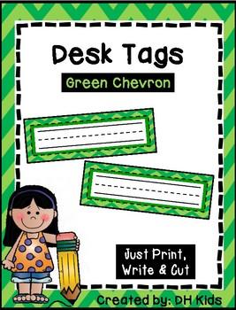 Desk Tags - Printable Name Tags - Green Chevron