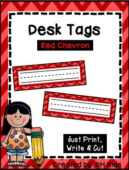 Desk Tags - Printable Name Tags - Red Chevron