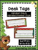 Desk Tags - Printable Name Tags with Alphabet & Numbers - Bear - Woodland Theme