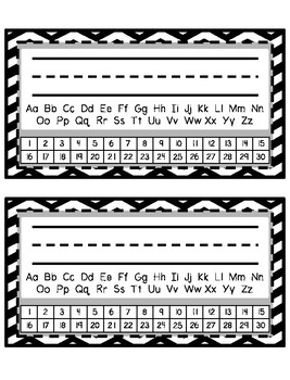 Desk Tags - Printable Name Tags with Alphabet & Numbers - Black & White Chevron