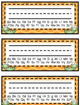 Desk Tags - Printable Name Tags with Alphabet & Numbers, Caterpillar Bug Theme