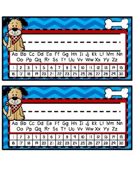 Desk Tags - Printable Name Tags with Alphabet & Numbers - Dog Theme