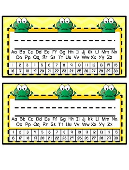 Desk Tags - Printable Name Tags with Alphabet & Numbers - Frog Theme