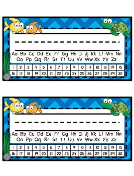 Desk Tags - Printable Name Tags with Alphabet & Numbers - Ocean Theme