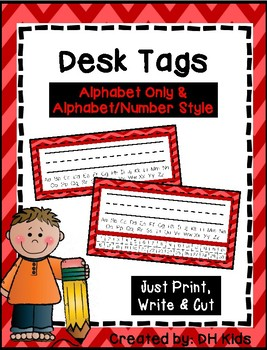 Desk Tags - Printable Name Tags with Alphabet & Numbers - Red Chevron