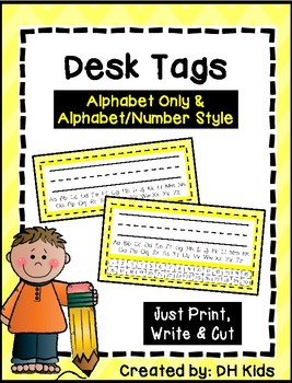 Desk Tags - Printable Name Tags with Alphabet & Numbers - Yellow Chevron