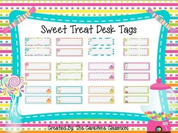 Desk Tags: Sweet Treat Theme EDITABLE