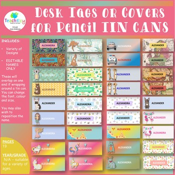 Desk Tags or Pencil Tin Covers