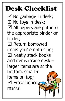 Desk Tidying Expectations Checklist poster 11 x 17
