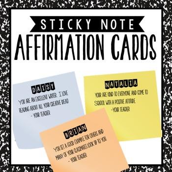 Post It Affirmation Cards Positive Reinforcement