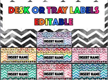 Desk & Tray Labels - Watercolour Chevron - EDITABLE