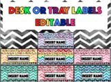 Desk & Tray Labels - Watercolour Chevron - EDITABLE