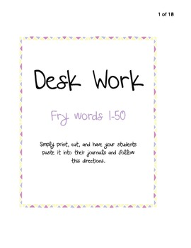Desk Work - 1st 50 Fry Words