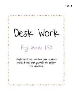 Desk Work - 1st 50 Fry Words