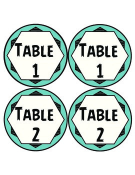 Desk and Table Numbers