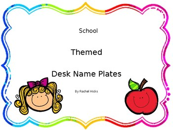 Desk and tub plates - school themed