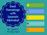 Spanish Desk Name Plates / Desk Name Tags with Spanish Alphabet and Number Lines
