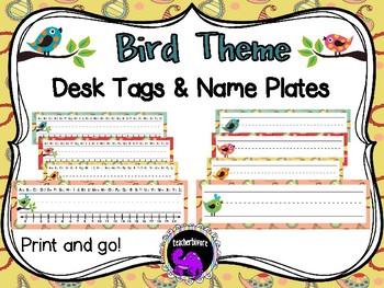 Desk tags and Name Plates - Bird Theme