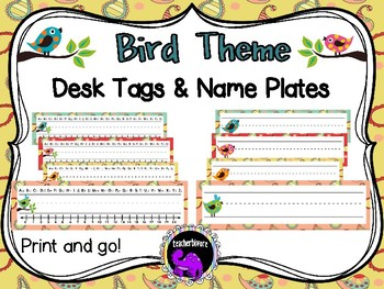 Desk tags and Name Plates - Bird Theme