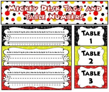 Mickey Desk tags and Table numbers