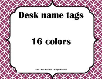 Desk tags- circle pattern