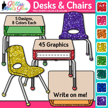 Classroom Desks and Chairs Clip Art {Classroom Furniture f
