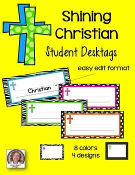 Desktags: Shining Christian Classroom Theme