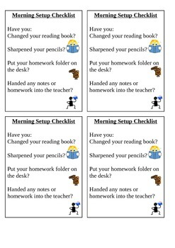 Desktop Checklist Morning Routine