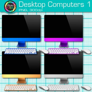 Desktop Computer Clip Art {Rainbow PC Equipment for Technology Resources} 1