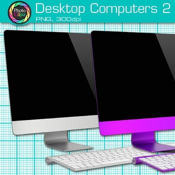 Desktop Computer Clip Art {Rainbow PC Equipment for Technology Resources} 2