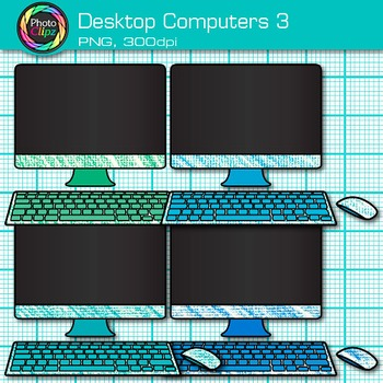 Desktop Computer Clip Art {Rainbow PC Equipment for Technology Resources} 3