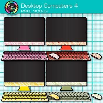 Desktop Computer Clip Art {Rainbow PC Equipment for Technology Resources} 4