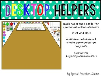 Desktop Helpers {Name tag and Reference Cards for Sped Classrooms}