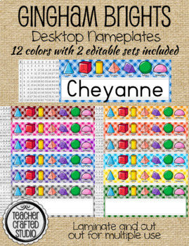 Desktop Name plates - Gingham Brights 3-D shapes and Multiplication table