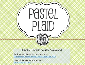 Desktop Name plates - Pastel Plaid 3-D shapes and Multiplication table