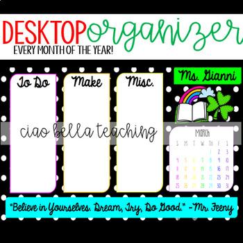 Desktop Organizer - Black and Brights EDITABLE