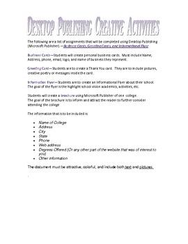 Desktop Publishing Creative Activities
